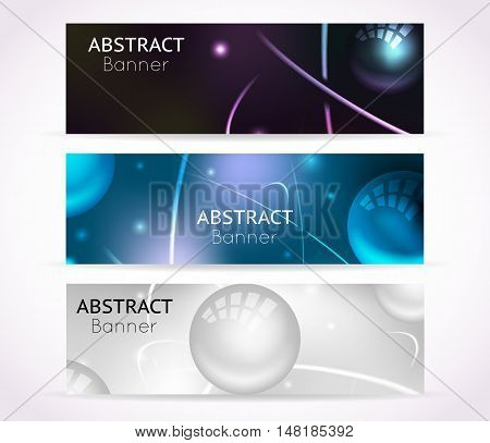 Nuclear atom banners. Nanotechnologies and physical technology banner backgrounds. Set of template banners with nuclear atom, illustration scientific banner for nuclear physic