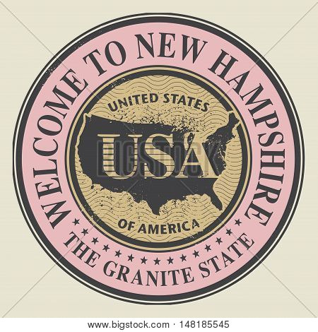 Grunge rubber stamp with text Welcome to New Hampshire vector illustration