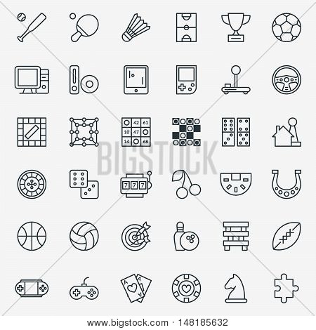 Game line icons vector. Set of linear sign for game and sport, illustration pictogram gambling games