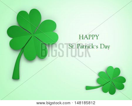 St. Patrick's Day greeting. Green clover background