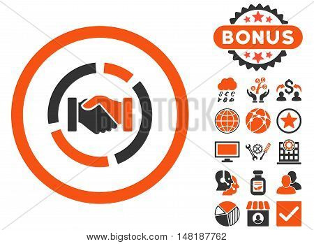 Acquisition Diagram icon with bonus pictures. Vector illustration style is flat iconic bicolor symbols, orange and gray colors, white background.