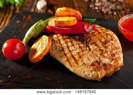 Grilled Chicken with BBQ Vegetables and Spicy Sauce