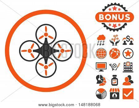 Air Drone icon with bonus elements. Vector illustration style is flat iconic bicolor symbols, orange and gray colors, white background.