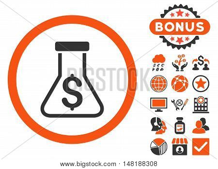 Alchemy icon with bonus images. Vector illustration style is flat iconic bicolor symbols, orange and gray colors, white background.