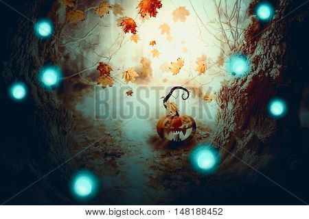 Spooky Tree And Pumpkin