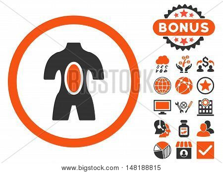 Anatomy icon with bonus pictures. Vector illustration style is flat iconic bicolor symbols, orange and gray colors, white background.