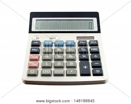 calculator isolated on white background, equipment for calculating the numbers in business & finance or education