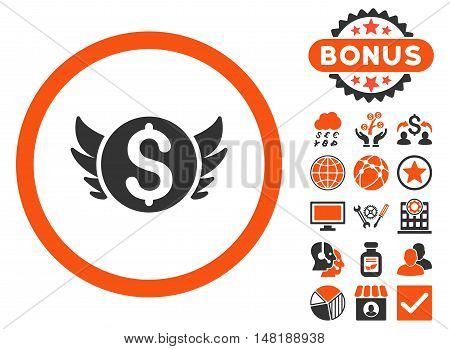 Angel Investment icon with bonus elements. Vector illustration style is flat iconic bicolor symbols, orange and gray colors, white background.