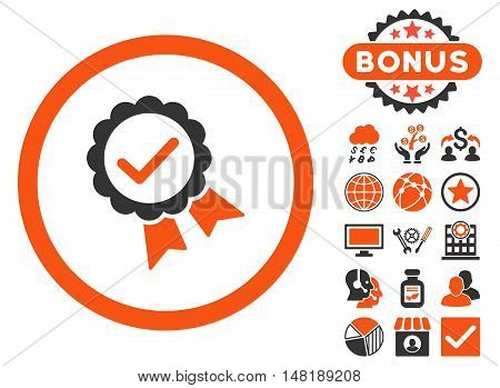 Approved icon with bonus symbols. Vector illustration style is flat iconic bicolor symbols, orange and gray colors, white background.