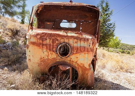 Abandoned Rusted Body Of Commercial Vehicle