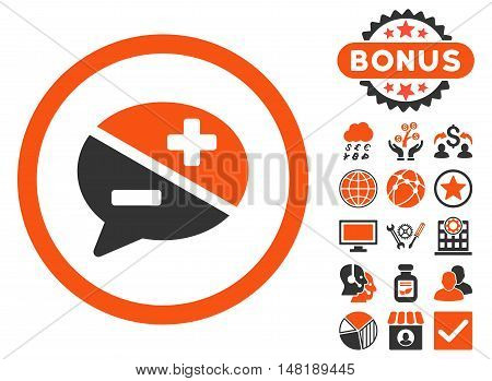 Arguments icon with bonus images. Vector illustration style is flat iconic bicolor symbols, orange and gray colors, white background.