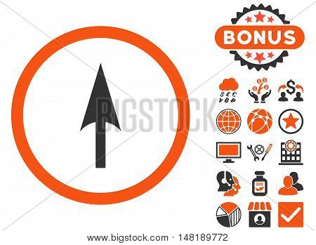 Arrow Axis Y icon with bonus pictogram. Vector illustration style is flat iconic bicolor symbols, orange and gray colors, white background.