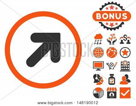 Arrow Up Right icon with bonus elements. Vector illustration style is flat iconic bicolor symbols, orange and gray colors, white background.