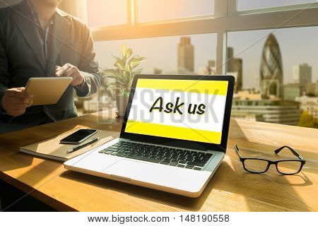Ask Us Contact Information Assistance  Concept