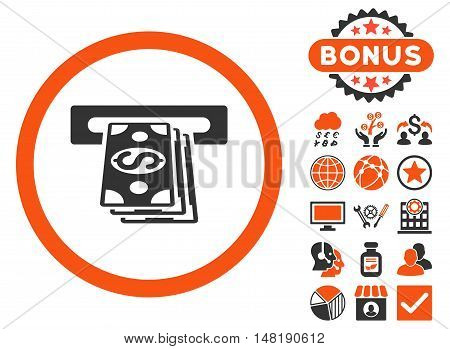 Atm Cashout icon with bonus elements. Vector illustration style is flat iconic bicolor symbols, orange and gray colors, white background.