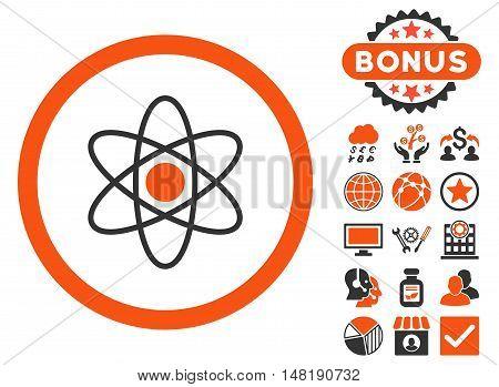 Atom icon with bonus pictogram. Vector illustration style is flat iconic bicolor symbols, orange and gray colors, white background.