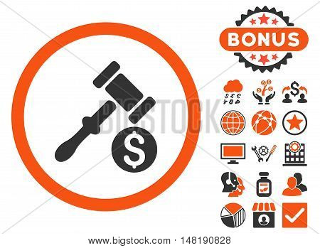 Auction icon with bonus pictogram. Vector illustration style is flat iconic bicolor symbols, orange and gray colors, white background.