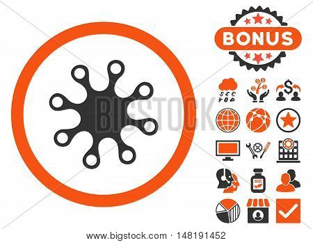 Axenic icon with bonus elements. Vector illustration style is flat iconic bicolor symbols, orange and gray colors, white background.