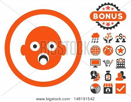 Baby Head icon with bonus images. Vector illustration style is flat iconic bicolor symbols, orange and gray colors, white background.