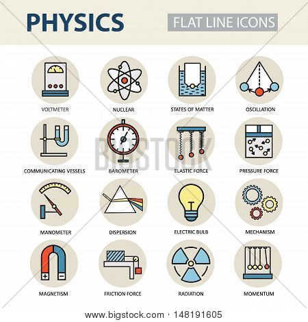 Modern thin linear vector icons of physics and laboratory experiments. Set of colored logos for science and education.