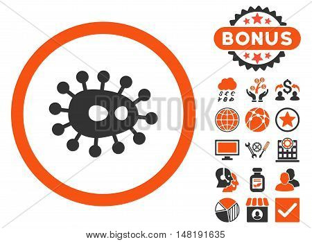 Bacilla icon with bonus images. Vector illustration style is flat iconic bicolor symbols, orange and gray colors, white background.