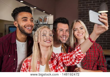 People Friends Taking Selfie Photo At Bar Counter, Mix Race Man Woman Hold Smart Phone Happy Smile Communication
