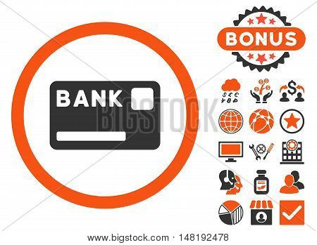 Bank Card icon with bonus images. Vector illustration style is flat iconic bicolor symbols, orange and gray colors, white background.