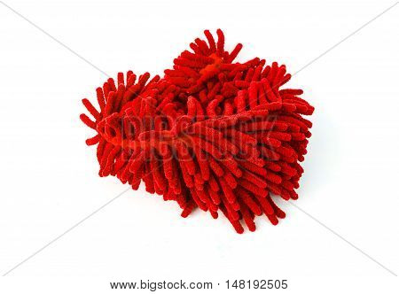 Red Microfiber Cleaner Glove, on white background
