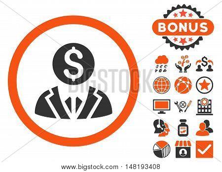 Banker icon with bonus symbols. Vector illustration style is flat iconic bicolor symbols, orange and gray colors, white background.