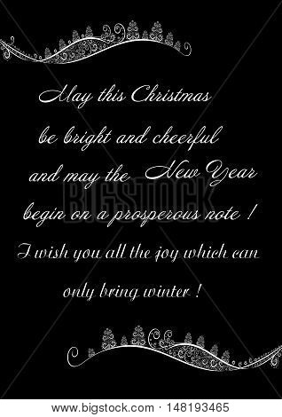 Festive greetings Merry Christmas on a black background with winter ornament editable and scaleable vector illustration
