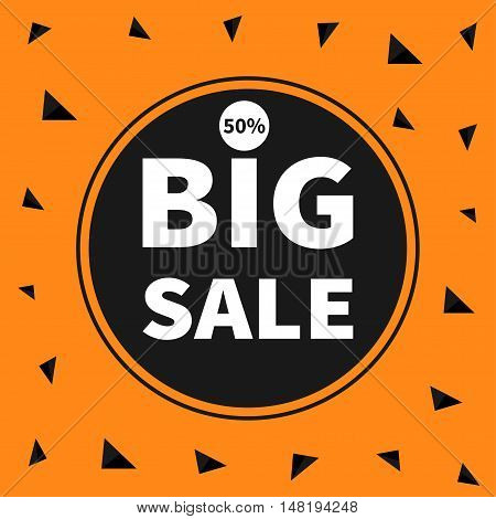 Big sale black tag circle round banner advertising poster. Autumn fall halloween season offer. Flat design. Orange background with triangles. Vector illustration