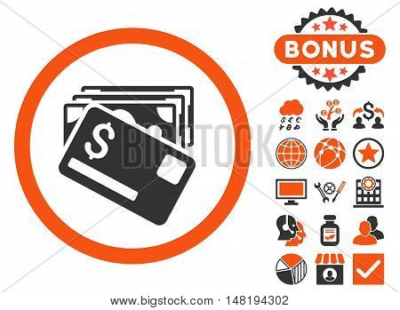 Banknotes and Card icon with bonus images. Vector illustration style is flat iconic bicolor symbols, orange and gray colors, white background.