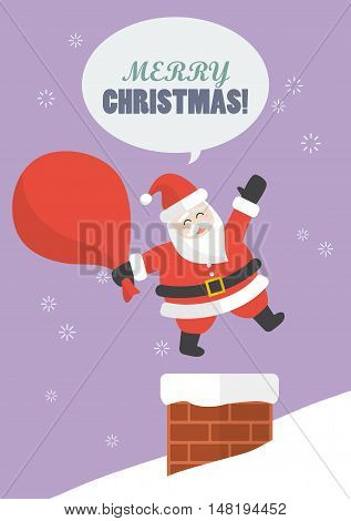 Santa claus with big bag jumping in the chimney. Christmas eve