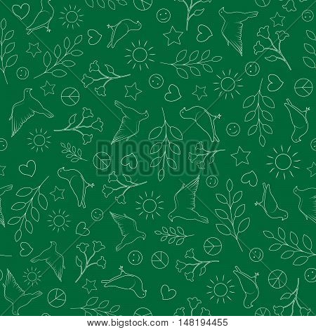 Day Clean World Seamless Pattern. Earth Day Background. Peace Silhouette Sign, Dove, Sun, Flower, Heart.