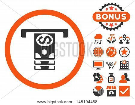 Banknotes Withdraw icon with bonus images. Vector illustration style is flat iconic bicolor symbols, orange and gray colors, white background.