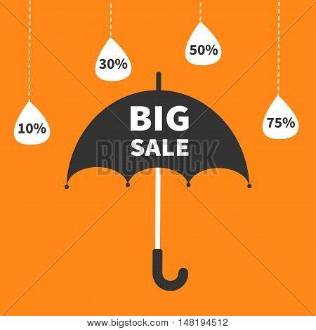 Monsoon season offer. Black umbrella. Hanging dash line raining drops. 10 30 50 75 persent off. Big sale banner poster Flat design. Orange background. Vector illustration