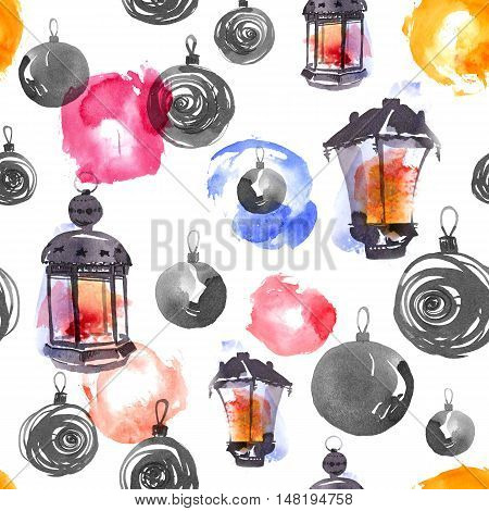 Christmas decorations and lamps. Ink and watercolor painting. Seamless pattern.