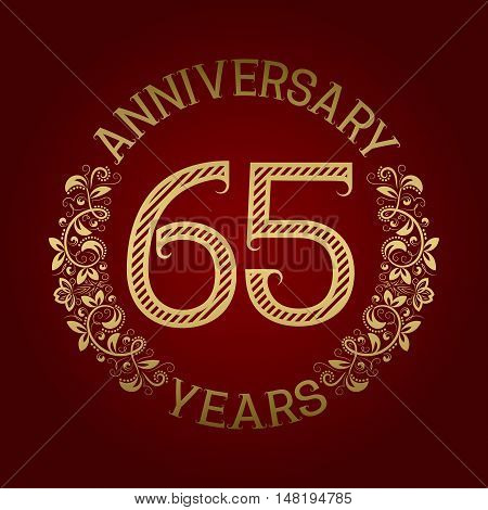 Golden emblem of sixty fifth anniversary. Celebration patterned sign on red.