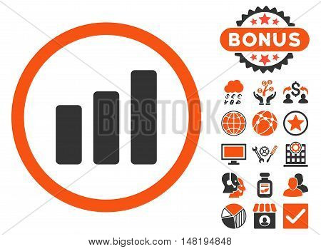 Bar Chart Increase icon with bonus pictures. Vector illustration style is flat iconic bicolor symbols, orange and gray colors, white background.
