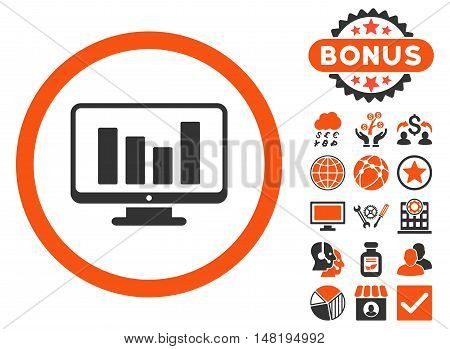 Bar Chart Monitoring icon with bonus pictures. Vector illustration style is flat iconic bicolor symbols, orange and gray colors, white background.