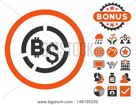 Bitcoin Financial Diagram icon with bonus pictogram. Vector illustration style is flat iconic bicolor symbols, orange and gray colors, white background.