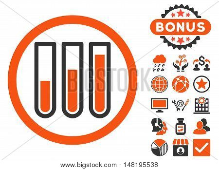 Blood Test Tubes icon with bonus pictures. Vector illustration style is flat iconic bicolor symbols, orange and gray colors, white background.