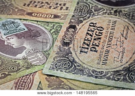 Old Hungarian ten thousand pengo money with stamp