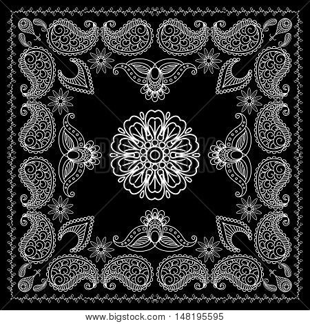 Black and White Bandana Print With Element Henna Style. Vector illustration