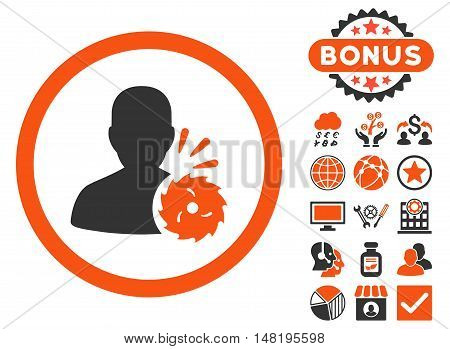 Body Execution icon with bonus symbols. Vector illustration style is flat iconic bicolor symbols, orange and gray colors, white background.