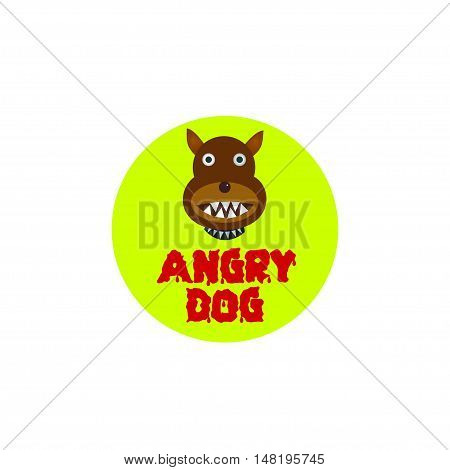 Danger Angry dog plate over white background