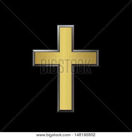 Golden plus sign. Golden metal cross label with silver contour