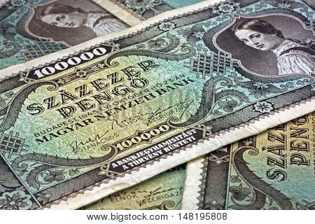 Old Hungarian lakh pengo money close up diagonal orientation