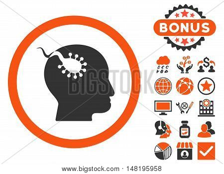 Brain Parasite icon with bonus elements. Vector illustration style is flat iconic bicolor symbols, orange and gray colors, white background.