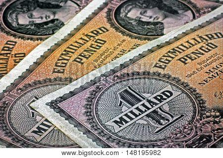 Old Hungarian one billion pengo money close up